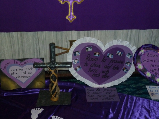 Our Lenten Promises make a beautiful display by the Altar.