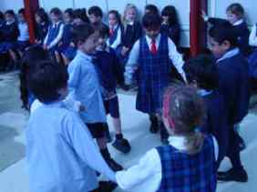 Today Room 1 damnced to the tapping of the sticks - tomorrow they will play their music as they dance.