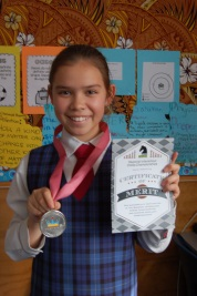 Anisha with her Chess Medal