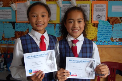 Tiare and Leone with Netball certificates