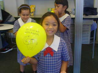We huffed and we puffed until our balloons were full of air. We hope our money banks can be as full too.