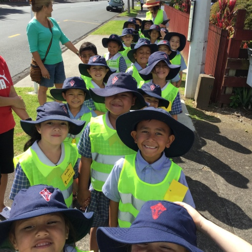 We walked in two lines along the footpath from school to the shops. It was lovely and sunny.