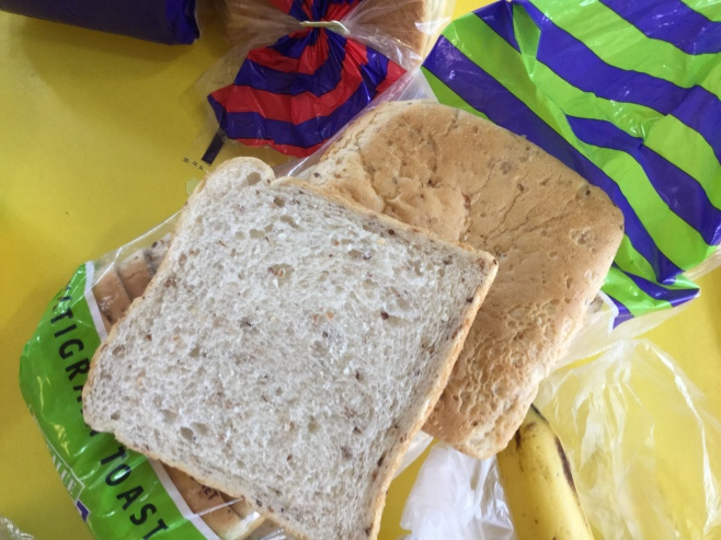 We chose a healthy bread to make our sandwiches with