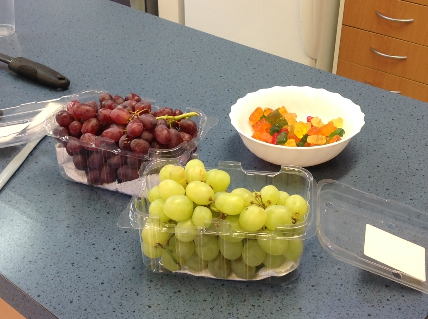 Thanks Mrs B for bringing us the grapes and gummy bears to put into our jelly. Guess which sank and which floated!.