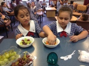 Laila and Georgina choose the treats to put into their jelly.