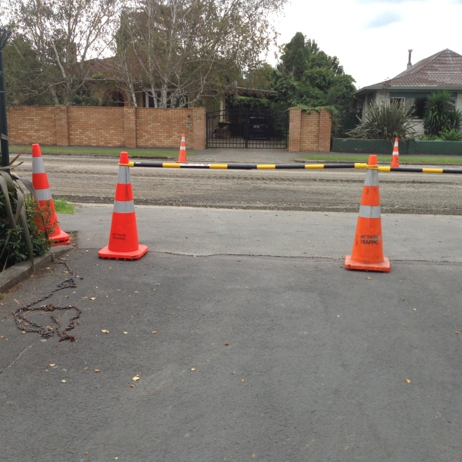 Cones to show areas we should keep clear of.