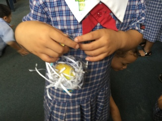 Our egg is safely in the basket.
