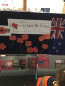 A display of books and poppies