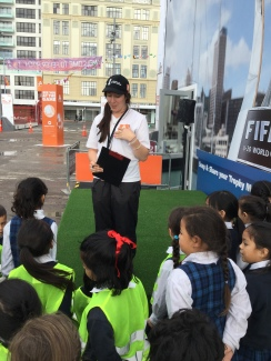 Emma tells us the different activity areas in the 'Fan Zone'