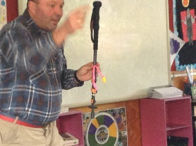 Frazer showing us his walking stick and protection stick.