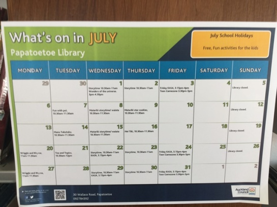 The July calendar of library events