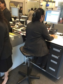 The teller who helps you with your money