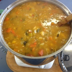 The soup is almost ready to eat!