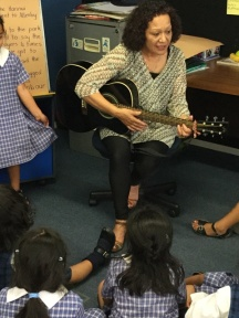 Mrs B on the guitar