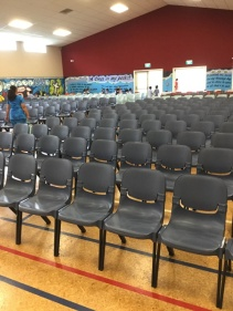 The seats ready for parishioners