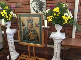 The icon, a picture of Our Lady of Perpetual Help
