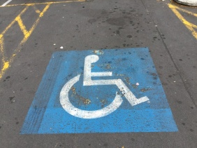 A disabled parking space