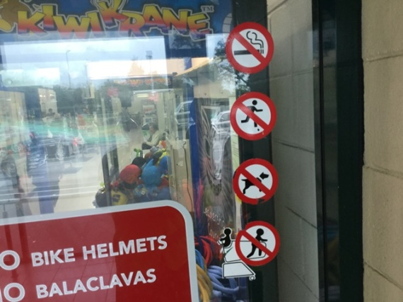 No smoking, no running, no dogs, no children in the front of the trolley