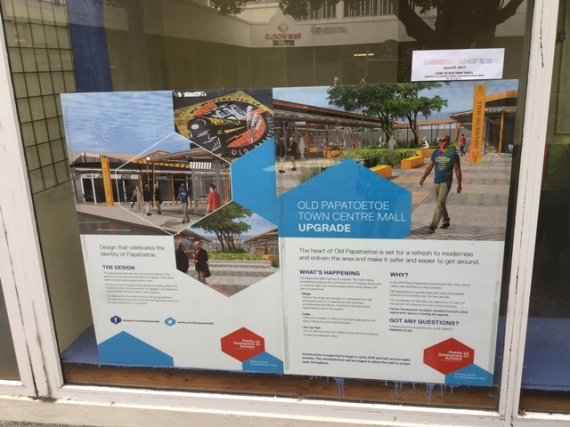 A sign saying aobut the refurbishment of the Papatoetoe Mall