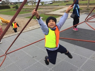 Swinging along at Barry Curtis Park