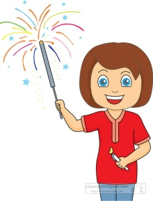 Girl holding 4th July sparkler Clipart