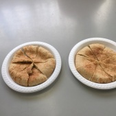 The pita bread cut into pieces