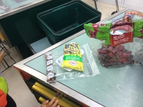 Our shopping at the check-out