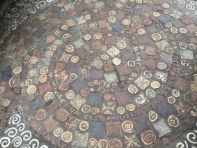 A decorative spiral path